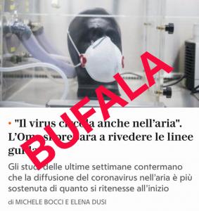 Sul terrore a mezzo stampa: «Il virus è nell'aria», un titolo che farà molti danni